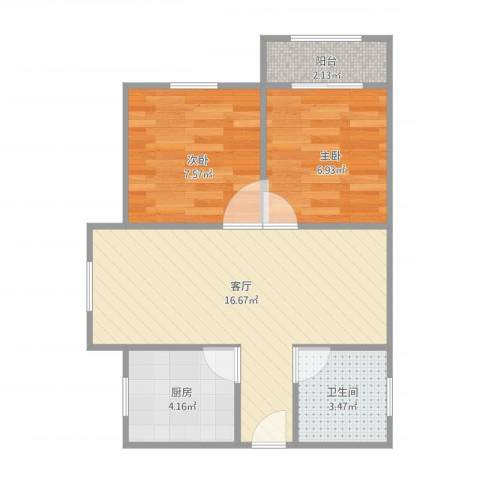 上海本色2室1厅1卫1厨56.00㎡户型图