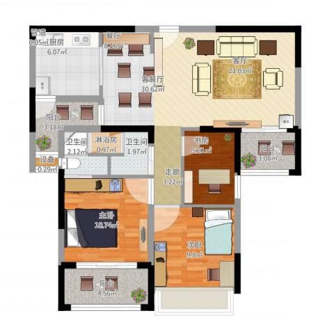 日月光伯爵天地3室1厅2卫1厨115.00㎡户型图