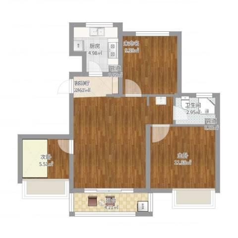 象屿上海年华2室1厅1卫1厨92.00㎡户型图