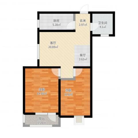 新梅江雅境新枫尚2室1厅1卫1厨85.00㎡户型图