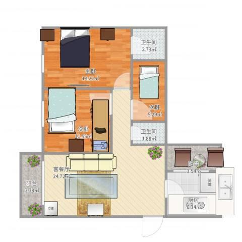 丽江花园二期康怡居100平方3房3室1厅2卫1厨100.00㎡户型图