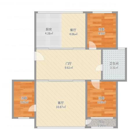 铜锣湾民院北10号楼3单元6楼13室1厅1卫1厨64.00㎡户型图
