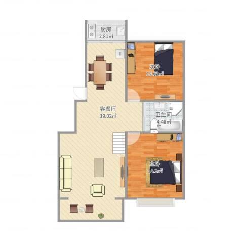 美域澜苑2室1厅1卫1厨97.00㎡户型图