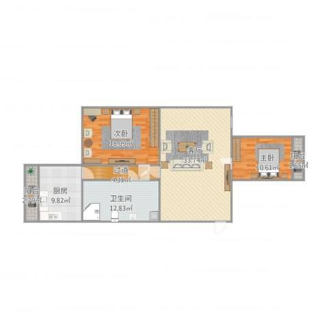 芳洲花园2室1厅1卫1厨100.50㎡户型图