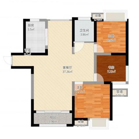 绿地波士顿公馆3室1厅5卫1厨115.00㎡户型图