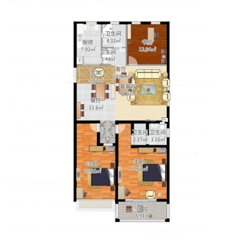 正德广场3室1厅3卫1厨177.00㎡户型图