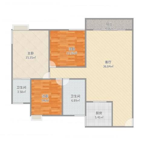乐怡花园3室1厅2卫1厨125.00㎡户型图