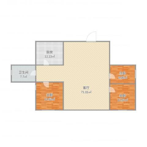 东北明珠3室1厅1卫1厨168.00㎡户型图