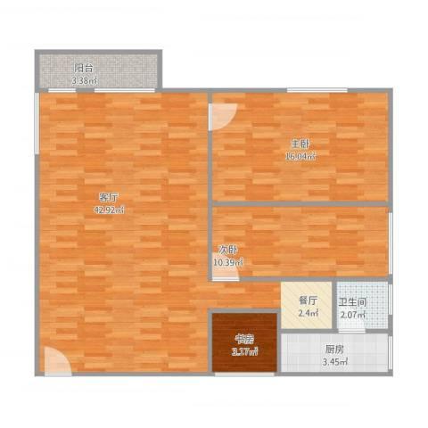 建发大厦3室1厅1卫1厨109.00㎡户型图