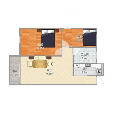 明珠广场14座5052室1厅1卫1厨73.00㎡户型图