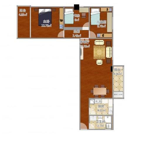 东清大厦3室1厅1卫1厨101.00㎡户型图