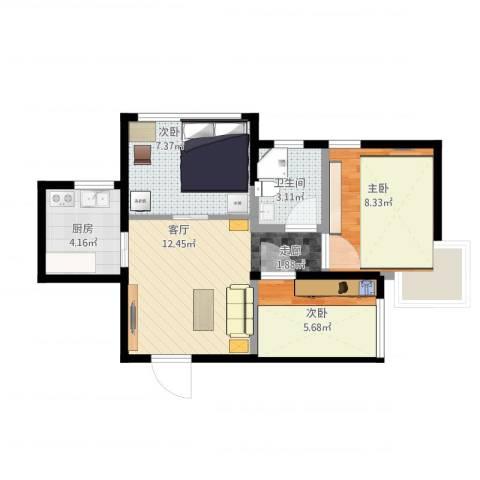 蜜橙3室1厅1卫1厨59.00㎡户型图