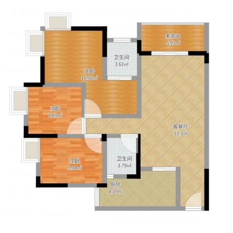 兆甲合阳新城3室1厅3卫1厨128.00㎡户型图