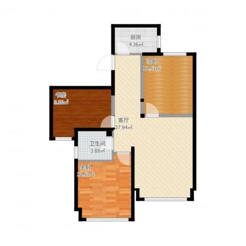京贸国际公馆3室1厅1卫1厨78.64㎡户型图