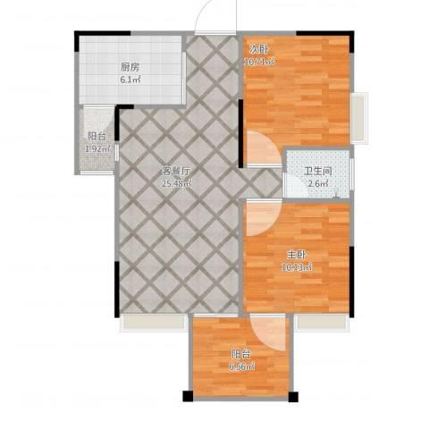 温莎名苑2室1厅1卫1厨86.00㎡户型图