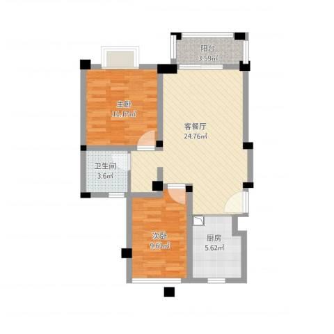 东渡伊顿小镇2室1厅1卫1厨85.00㎡户型图