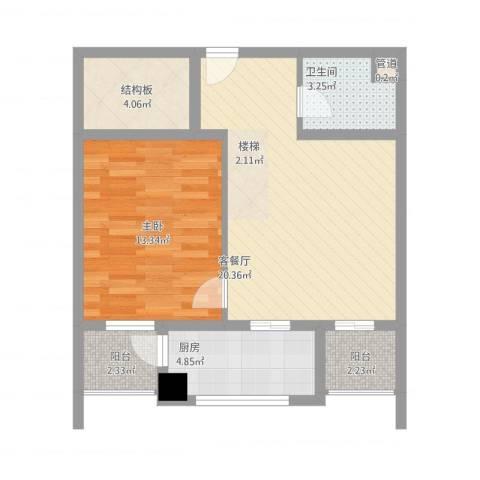 A+5米41室1厅1卫1厨74.00㎡户型图