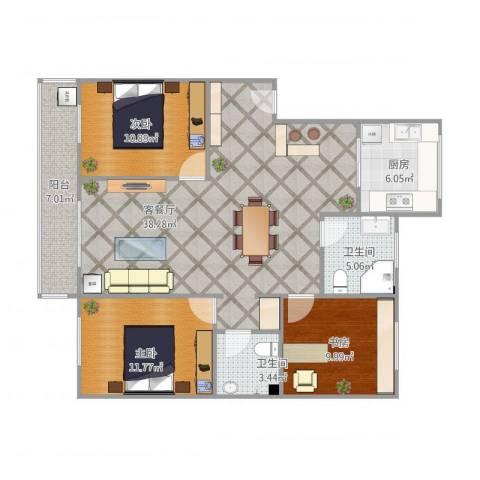 颐和家园3室1厅2卫1厨125.00㎡户型图