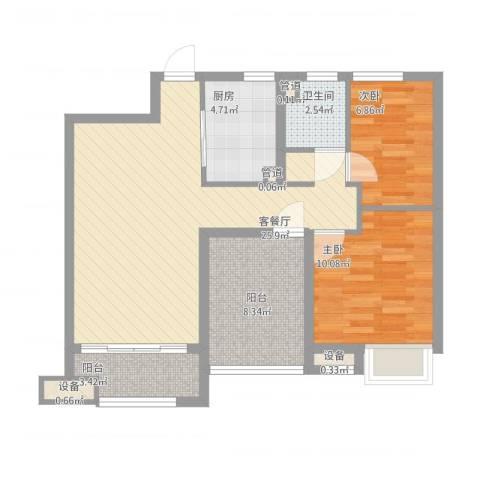 海亮香榭里2室1厅1卫1厨92.00㎡户型图