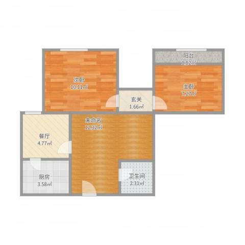万达高层2室1厅1卫1厨61.00㎡户型图