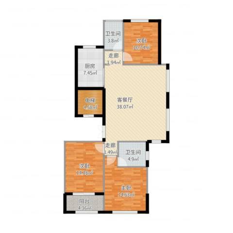 绿城御园3室2厅2卫1厨142.00㎡户型图