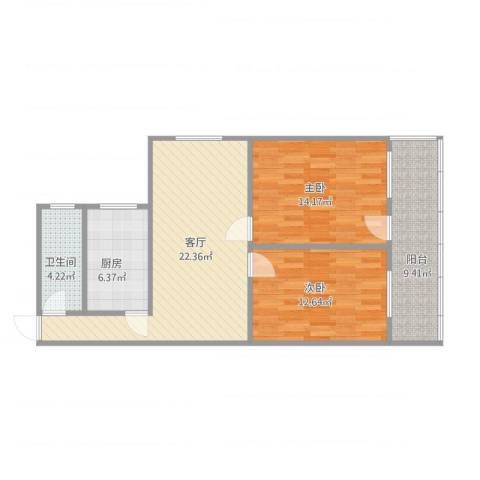 中建小区2室1厅1卫1厨95.00㎡户型图