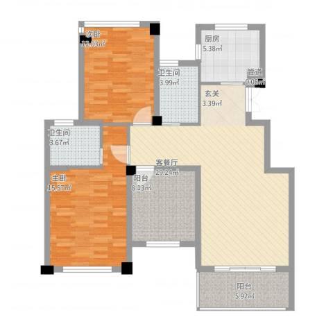 江南一品2室1厅2卫1厨120.00㎡户型图