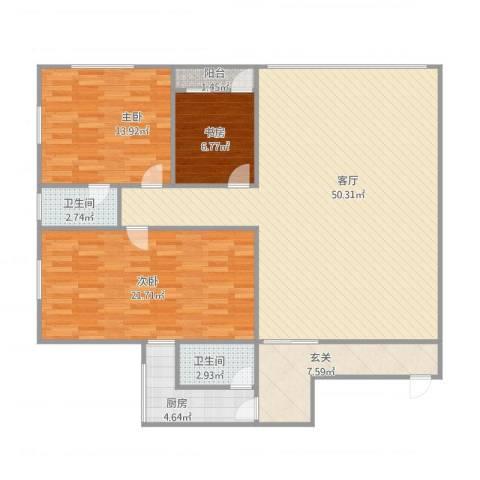 华景苑3室1厅2卫1厨143.00㎡户型图