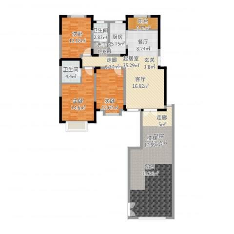宜禾红橡公园3室1厅2卫1厨187.00㎡户型图