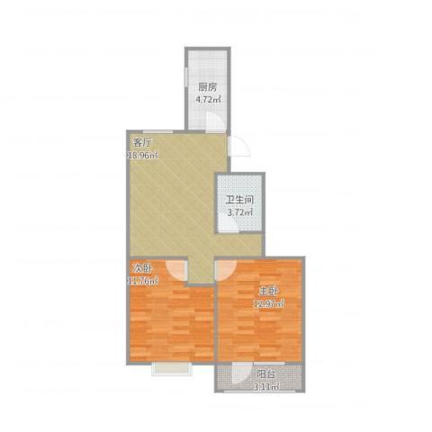 华明家园2室1厅1卫1厨75.00㎡户型图
