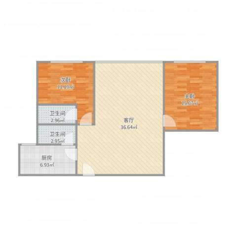 新威花园A座11062室1厅2卫1厨101.00㎡户型图