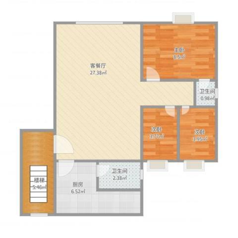 季华花园五期11座2013室1厅2卫1厨80.00㎡户型图