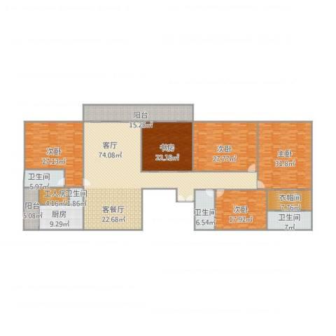 中海文华熙岸5室1厅4卫1厨350.00㎡户型图