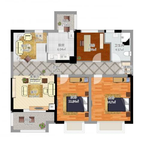 中海寰宇天下3室1厅1卫1厨124.00㎡户型图