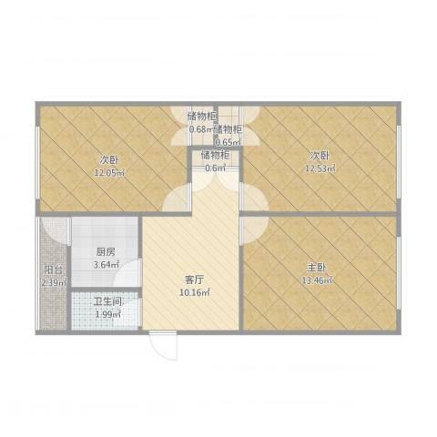 安达小区3室1厅1卫1厨80.00㎡户型图