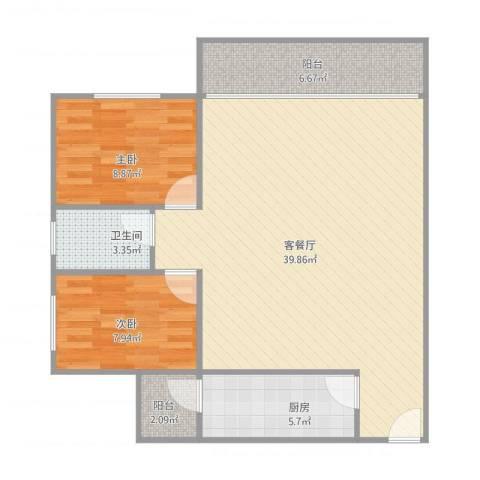 天御尚城2室1厅1卫1厨100.00㎡户型图
