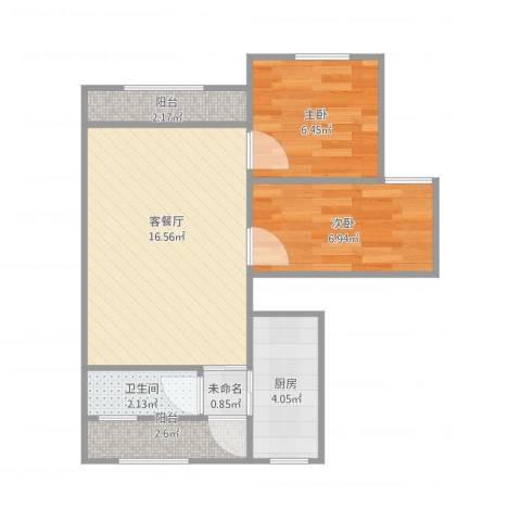 品新苑2室1厅1卫1厨58.00㎡户型图