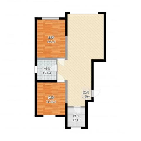 景康名苑2室1厅1卫1厨98.00㎡户型图
