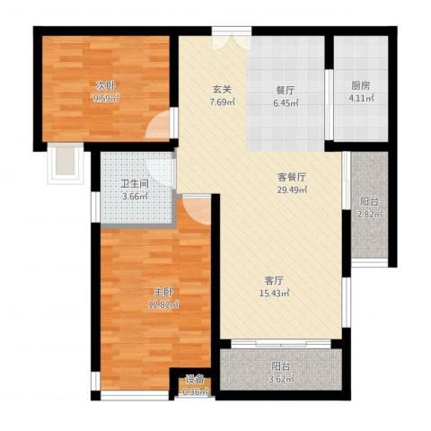 新世纪可居2室1厅2卫1厨96.00㎡户型图