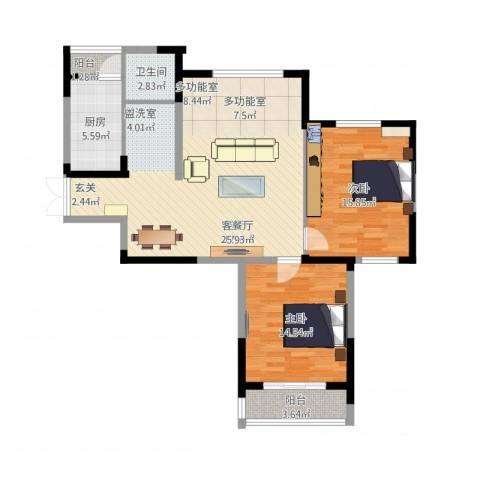 天鹅湖畔2室1厅1卫1厨112.00㎡户型图