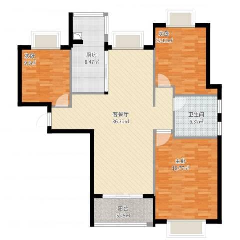 瑜翠园3室1厅1卫1厨135.00㎡户型图