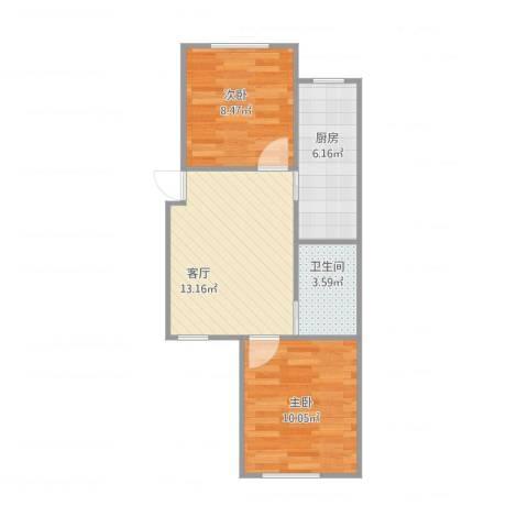 江南华府2室1厅1卫1厨56.00㎡户型图