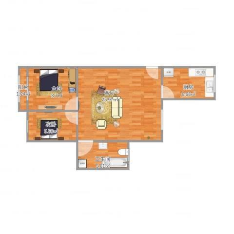 淞南二村2室1厅1卫1厨73.00㎡户型图