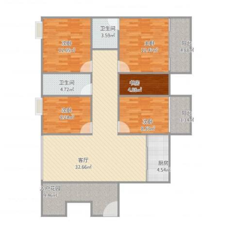 穆天子山庄3025室1厅2卫1厨148.00㎡户型图