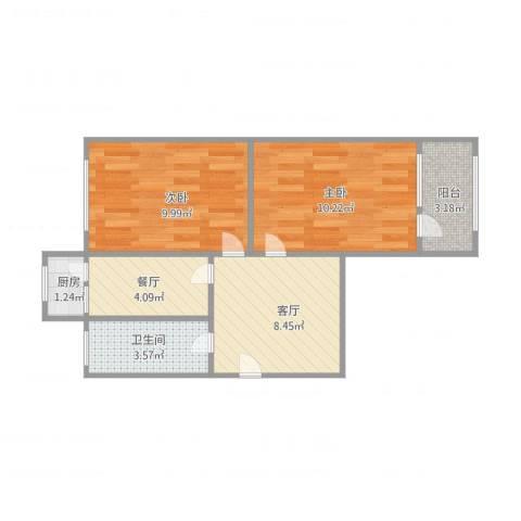 舜耕路单位宿舍2室2厅1卫1厨56.00㎡户型图