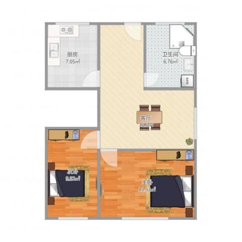 呼玛五村2室1厅1卫1厨60.63㎡户型图