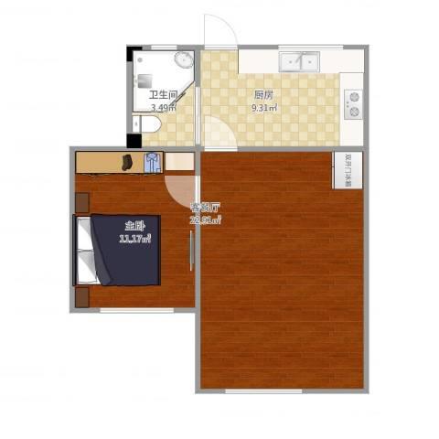 临沂一村1室1厅1卫1厨63.00㎡户型图