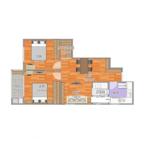 沙塘园5号2室1厅1卫1厨89.00㎡户型图
