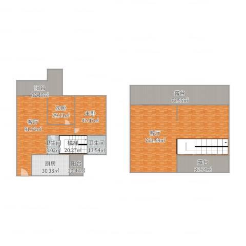 澳德蓝山花园2室2厅2卫1厨793.00㎡户型图
