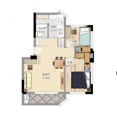 新城雅居2室1厅1卫1厨74.00㎡户型图